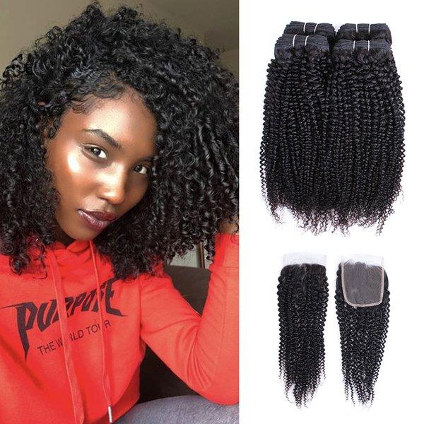 Бразильский афро кудрявый вьющиеся пучки волос с закрытием естественный цвет 4 пучки с 4x4 кружева закрытия 10-28 дюймов Реми человеческих волос