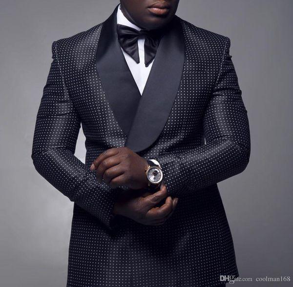 Popüler Siyah Beyaz Nokta Erkekler Düğün Smokin Kruvaze Damat Smokin 2019 Stil Erkekler İş Yemeği / Darty Suit (Ceket + Pantolon + Kravat) 188