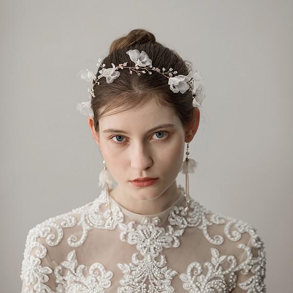 Süße Legierung Stirnbänder Ohrringe mit Blume und Strass zwei Stück Perlen Blume Hochzeit Brautschmuck Set Kleid Haarschmuck