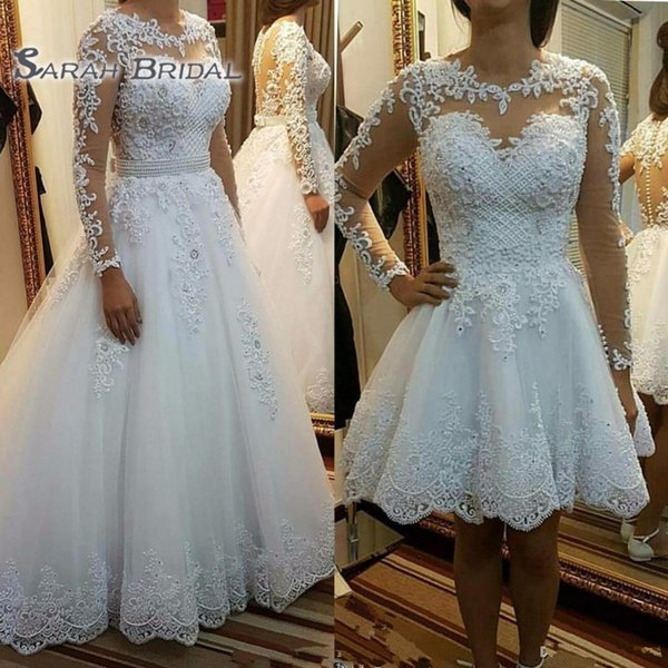 vintage Long Sleeve Short Wedding Dresses Removable skirt Beach Boho Puffy Tulle Lace Plus Size Country Sheer Button Back Bridal Gowns 2019