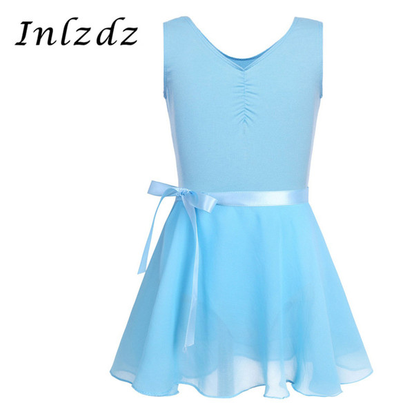 Ballet Body Dancewear For Kids Girls Senza maniche Ballerina Tutu Body ginnastica con Chiffon Tied Skirt Outfit Set Customs