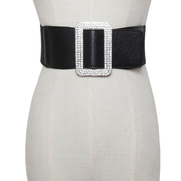 Women Elegant White Pearl Cluster Elastic Waist Belt Metal Buckle Waistband USA