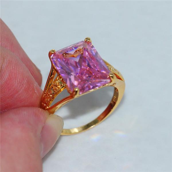 Big Radiant-Cut 15 Karat Pink Amethyst 18 Karat Gelbgold gefüllt Ring Größe 8-11 für Männer