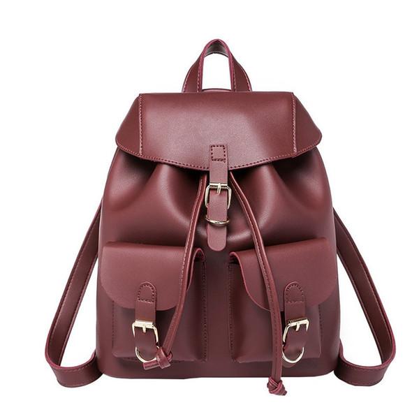 29bf941c1521f Yeni Trendy Kadın İpli Pu Deri Sırt Çantaları Genç Kızlar Küçük Okul  Çantaları Kadın Yüksek Kaliteli