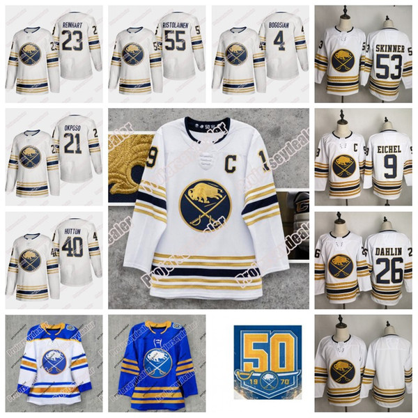 best selling Jack Eichel Buffalo Sabres Royal Blue Golden 50th Season Third Jersey Jeff Skinner Montour Rasmus Dahlin Rasmus Ristolainen Carter Hutton