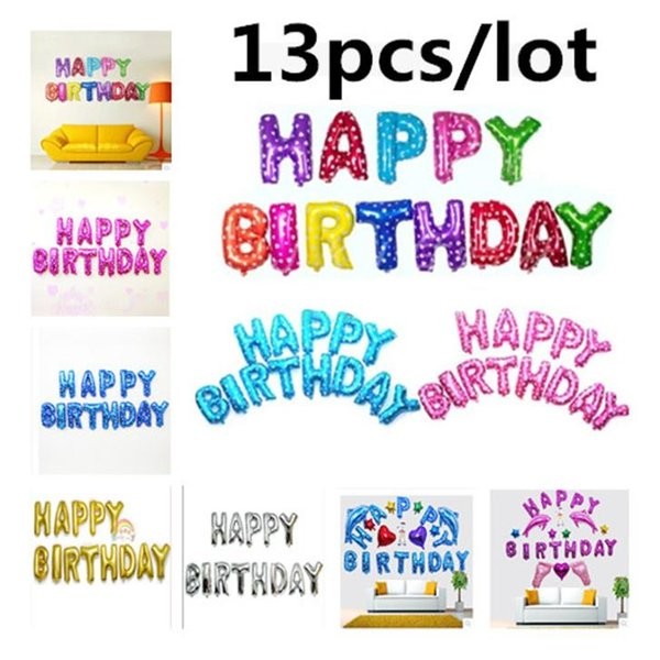 vent Party Ballons Accessories 13pcs/lot Happy Birthday balloons Decoration Foil Party balloon for child Baby kids air Baloons Alphabet A...