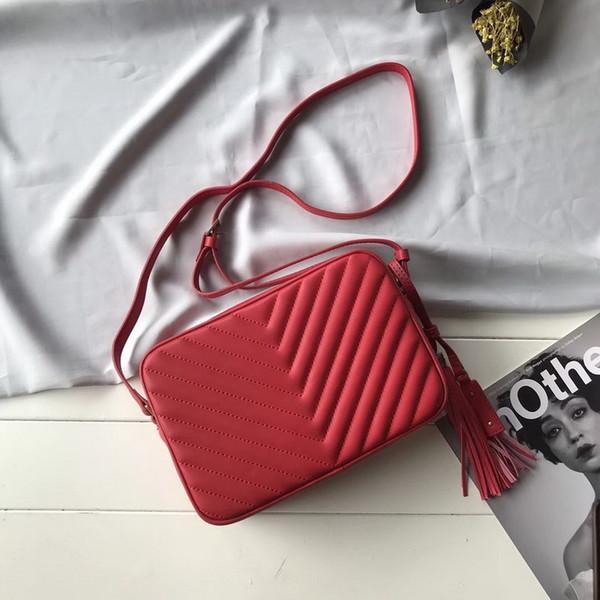 Novo 2019 designer bolsas de luxo bolsas preto vermelho striple couro genuíno com borlas saco crossbody top quality ladies marca sacos de ombro