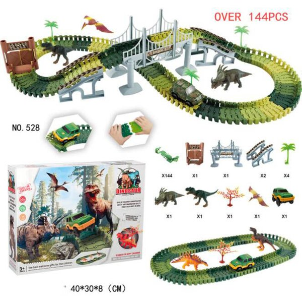DIY Simulation Jungle Dinosaur Theme Park Children Track Toy Car Educational Toys For Children Gifts