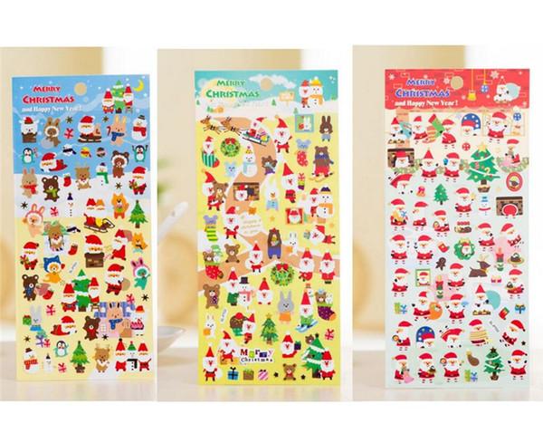 KIDS наклейки Рождественские мультфильм наклейки Санта-Клауса Xmas Tree Diy Плакаты ПВХ ПЭТ наклейки для стекла партии Окна Фавор KIDS Подарки A110802