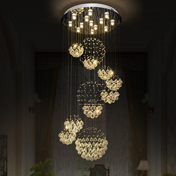 Lámpara de cristal moderna lámpara de luz para sala de estar Sala de hotel Decoración de interior Escalera Lámpara de techo 11 bolas 110-220V