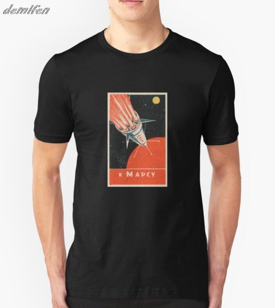Summer Russian Space Poster T-shirt Men Short Sleeve T Shirt Hip Hop Tees Tops Harajuku Streetwear