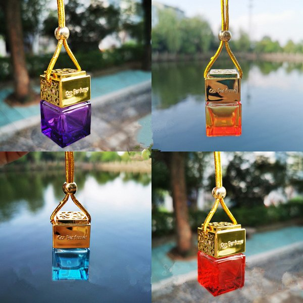 best selling Multicolour Car Air Freshener Hanging Glass Bottle Auto Perfume Diffuser Empty Bottle For Essential Oils Fragrance Automobiles Ornaments