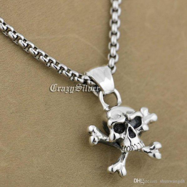 LINSION 925 Sterling Silber Piraten Schädel Knochen Biker Anhänger 9S003 Edelstahl Halskette 24 Zoll