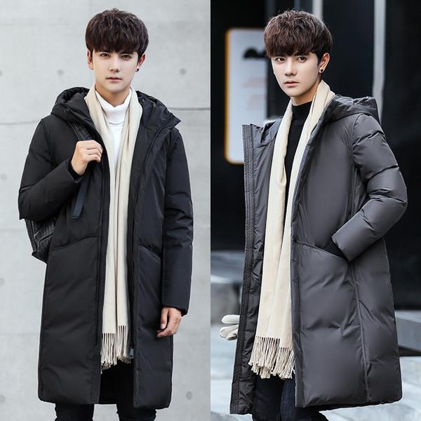 novas mens designer de baixo agasalho com capuz longo jaqueta jovem pato branco Magro coreano baixo casaco de inverno