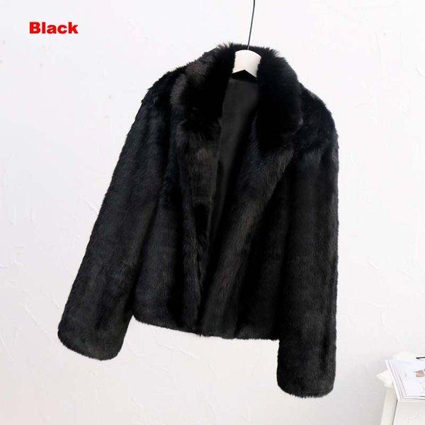 черный искусственный мех пальто