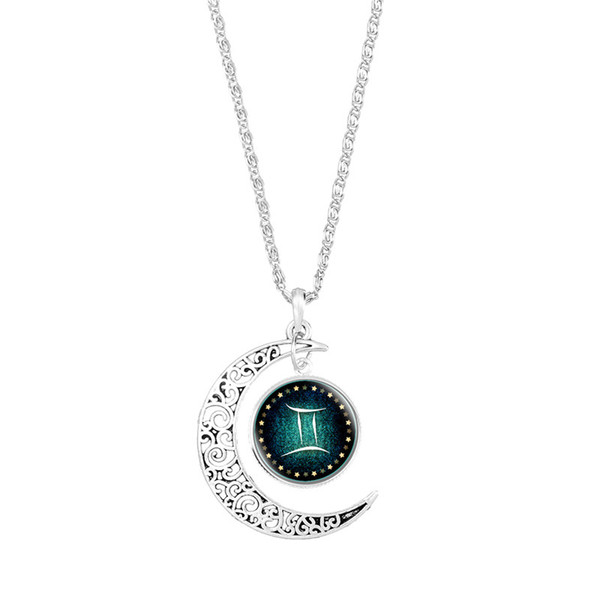 Fashion 12 Constellations Zodiac Gemini Time Gem Glass Dome Pendant Necklace Silver Color Long Link Chain Choker Jewelry Wedding Party Gifts
