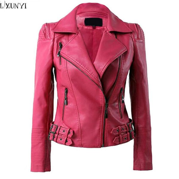 Großhandel 2019 NEUE Frühling Herbst Lederjacke Frauen Korean Fashion Pu Leder Mantel Marke Große Größe Shorts Kunstleder Jacken 2XL 3XL 4XL Mäntel