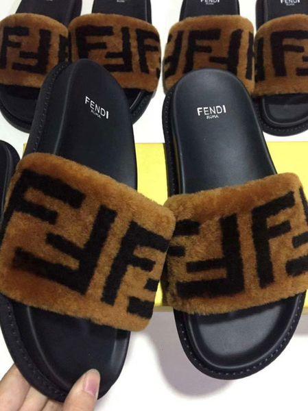 Leadcat Fenty Rihanna Faux Fur Slippers Women Man Sandals Fashion Scuffs Furry flip flop Slides High Quality With Box Size 35-45