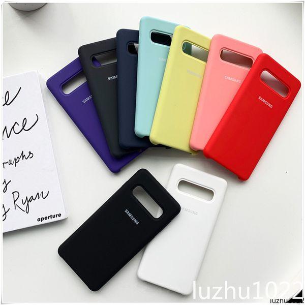 Marka Logo Koruyucu Kapak Samsung Galaxy S7edge S8 S9 S10 Artı Sıvı Silikon Case Arka Samsung Not 8 Için 9 Telefon Çantası Ile Packgae