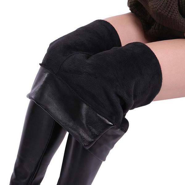 Winter Plus Size Leather Leggings Women Pants High Waist Warm Leggings Thick Velvet Women Leggins Push Up Legging