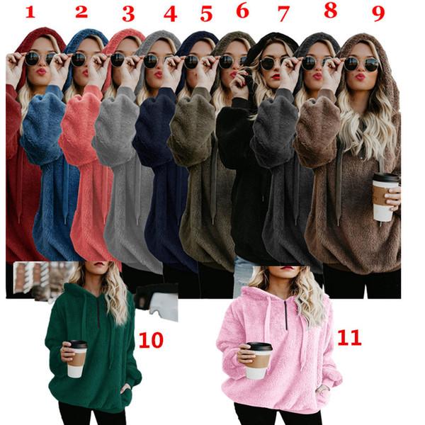Mulheres Sherpa camisola Blusa Designer Hoodies Fur Camisas EuropeanAmerican Estilo de lã casaco com capuz Oversize moletom com capuz Tops C92709