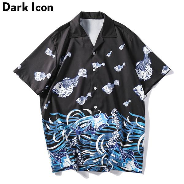 Dark Icon Fish Printed Street Shirts for Men Summer Vintage Men's Shirts Short Sleeve Streetwear