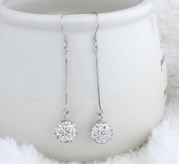 Real 925 Sterling Silver 2019 Earrings Long Shambhala Ball Tassels Women Jewelry Trendy Lady Graceful Anniversary Party Souvenir 49mm 6 pair