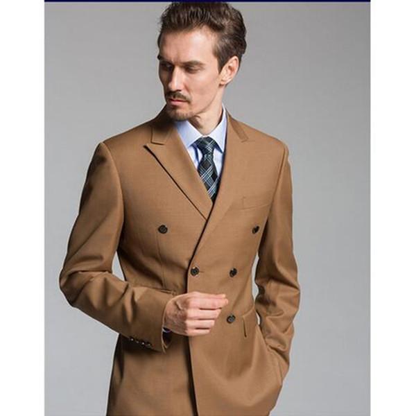 Moda Double Breasted Luz Marrom Noivo Smoking Pico Lapela Padrinhos Homens Blazers Ternos (Jacket + Pants + Tie) NO: 386