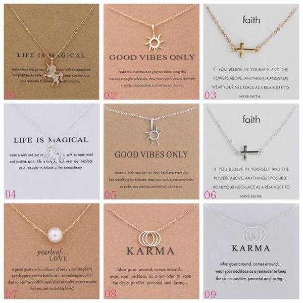 Plus de 100 styles en alliage Dogeared colliers avec carte pendentif Licorne coeur éléphant cheval de perle collier pendentif chaîne de Clavicule Chocker