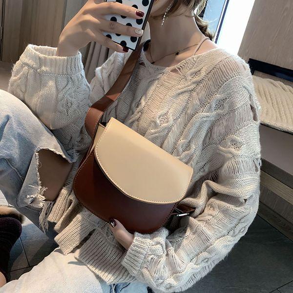 Women Hit Color Shoulder Bags Crossbody Handbag 2019 New Arrival Simple Stylish Wild Round Cover Shoulder Messenger Bags