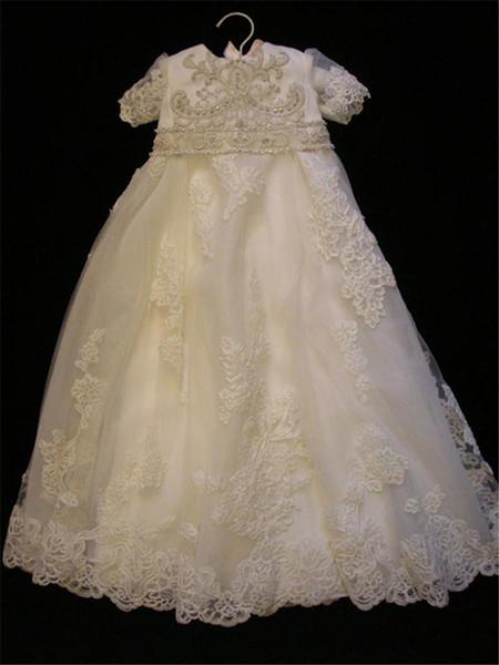 Neue preiswerte Blumen-Mädchen-Kleider für Hochzeit Juwel Spitze Perlen Tüll bodenlangen Ersten Honly Kommunion-Kleider Nach Maß