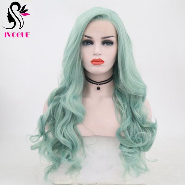 Largo ondulado verde sintético pelucas Cosplay fibra resistente al calor peluca de pelo cuerpo onda atado a mano pelucas delanteras llenas del cordón para las mujeres
