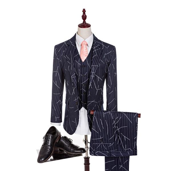 Abito uomo a righe Gessato uomo Blazer per smoking sposo Groomsman Abito blu navy nuovo design giacca + pantaloni + est