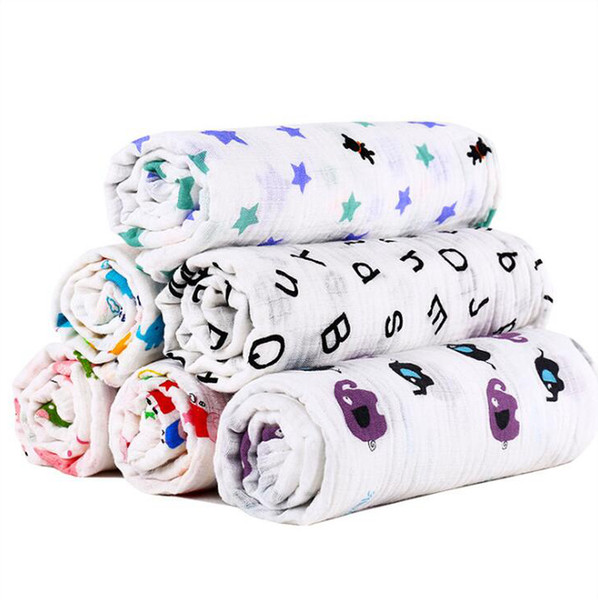 best selling Baby Muslin Swaddle Blankets Cotton Summer Bath Towels Newborn Wraps Nursery Bedding Infant Swadding Parisarc Robes Quilt 86 Colors D7279