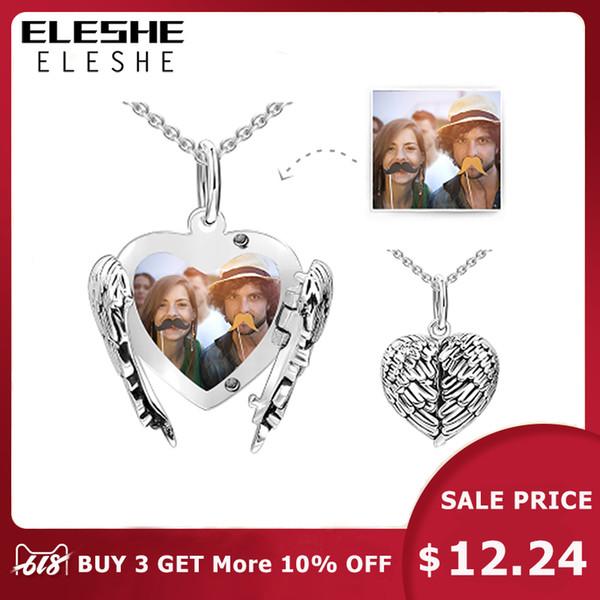 2018 Nouveau 925 Sterling Silver Heart Pendentif Collier Pour Les Femmes À Longue Chaîne Colliers Personnalisé Personnalisé Photo Bijoux Cadeau J190616