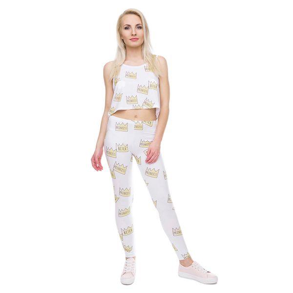 Girls Leggings Doodle Crown 3D Digital Full Printed Comfortable Yoga Wear Pants Woman Stretchy Pencil Fit Lady Skinny Pencil Pants (Y41597)