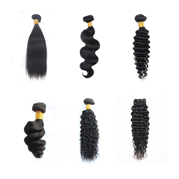 best selling Kiss Hair 3 Bundles 8-28 inch Brazilian Virgin Remy Human Hair Loose Wave Yaki Straight Deep Curly Body Wave Straight Color 1B Black