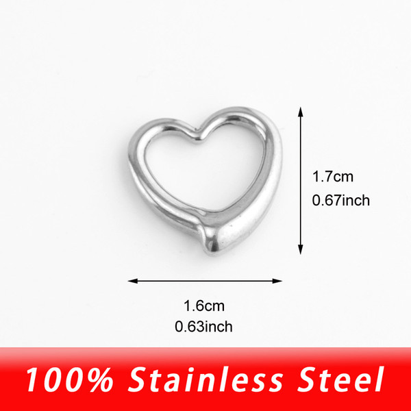 Wholesale 10pcs DIY Heart Charm Connector for Necklace Bracelets Stainless Steel Jewelry Finding&Jewelry Making