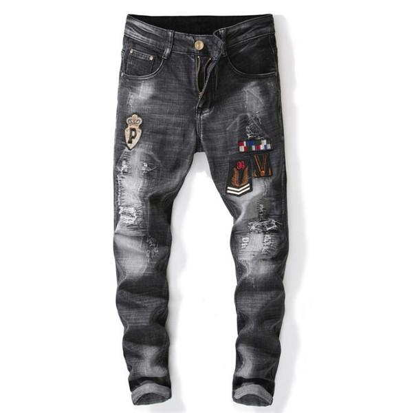 Embroidery badge cheap jeans men biker jeans men trousers male denim pants masculino motorcycle fashion designer