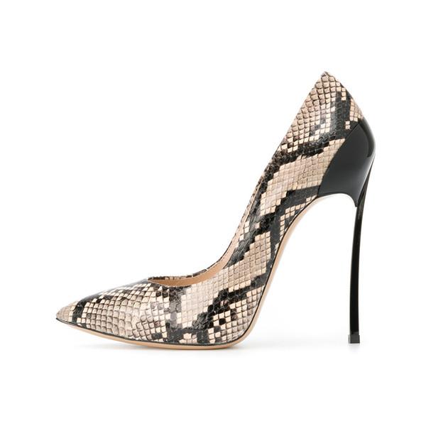 Vino a punta nuda pelle di serpente nerastro tacco alto rosso con vibrazione superficiale bocca scarpe in pelle singola femminile selvaggina scarpe da festa tacco alto 10cm