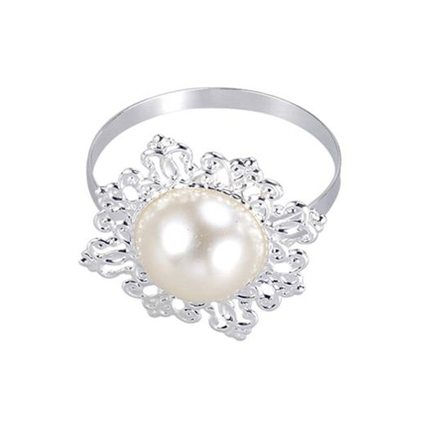 12Pcs Dinner Banquet Faux Pearl Napkin Ring Serviette Buckle Holder Wedding Birthday Date Anniversray Party Table Decoration