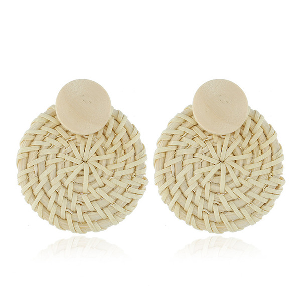 2019 Statement rattan knit earrings drop for women hot round Boho wood straw braided female dangle earrings beach summer fashion