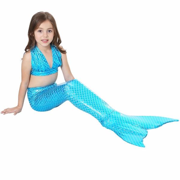 2018 Girls Summer Beach Dress Little Mermaid Fancy Dressed Kids Clothing Girls Mermaid Dresses 3pcs Sets Ariel Swimming Cosplay Y19061701