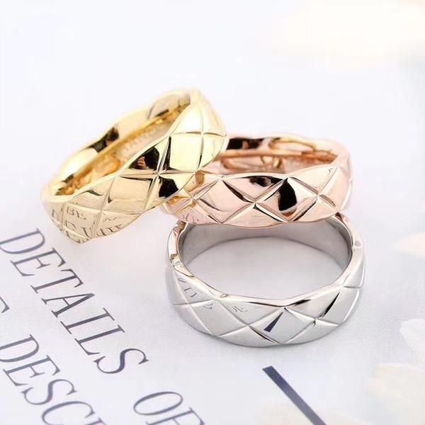 Anelli Designer oro con Logo per le donne di lusso in oro C marca 18K Rosa d'acciaio di titanio dell'anello delle donne degli uomini Anelli di lusso Drop Shipping