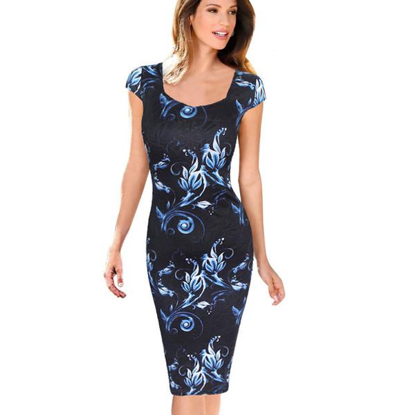 Envío gratis Moda mujer vestido elegante estampado floral tapa de la manga más tamaño vestidos de trabajo informal de negocios Vestidos de fiesta