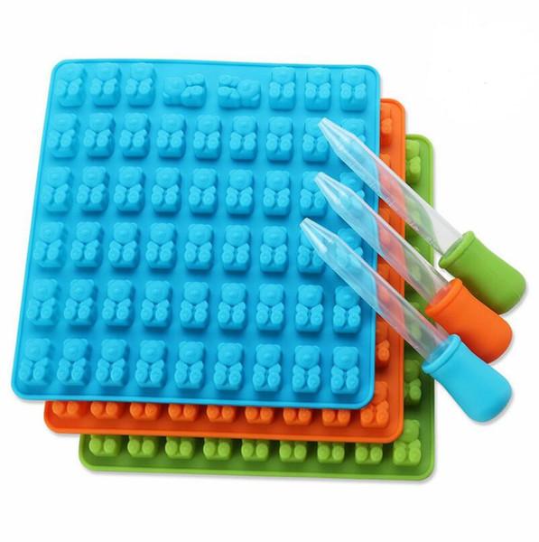 4 Renk 53/50 Kavite Silikon Sakızlı Ayı Çikolata Kalıp Şeker Makinesi Ice Cube Tepsi Jöle Kalıpları ile ücretsiz damlalık LX4920
