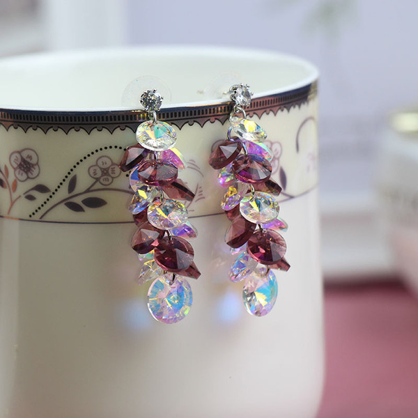 Boucles d'oreilles en cristal de bijoux de mode Hot S925 Silver Pin Perles Dangle Dangle Earrings S246