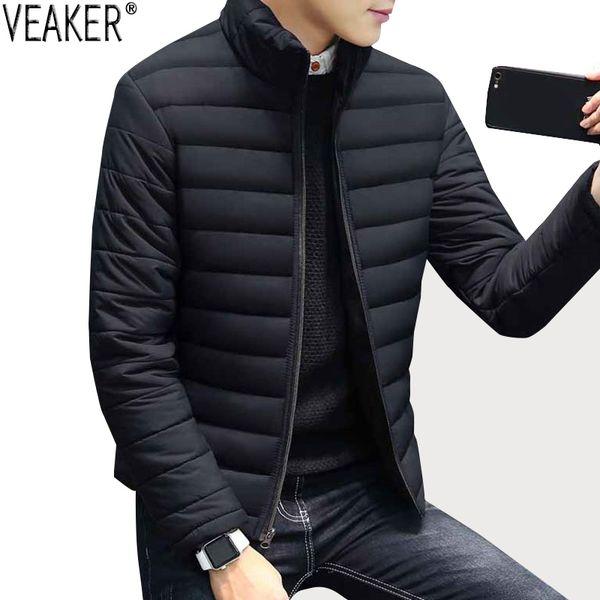 Recruit New men Donsjack Parka Effen Color Slim Fit Parka Jas Katoen Wet Stand collar Black overcoat