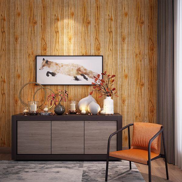 53 cm x 10 m Ahşap tahıl Duvar Kağıtları 3D TV Arka Plan Oturma Odası Duvar Kağıdı Duvar Yatak Odası Dekoratif 3D Duvar Sticker