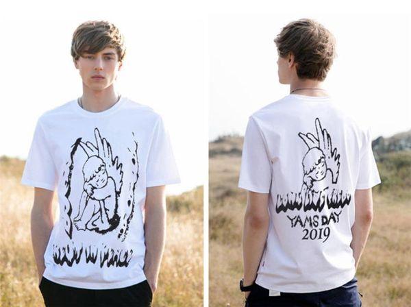 TRAVIS SCOTT YAMS GÜN Baskı Erkek Tasarımcı Tişörtleri Hiphop Rapçi Melek Mens Yaz Kısa Kollu Erkek Tees Tops